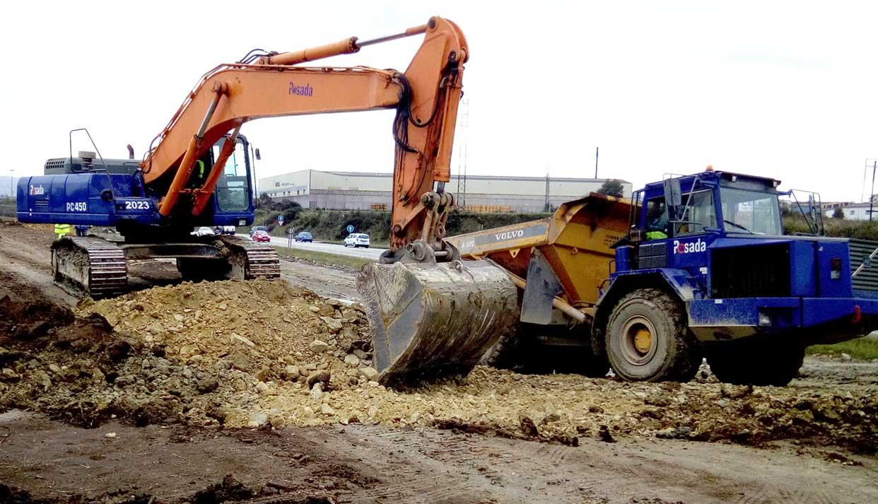 excavación movimiento de tierras accesos Musel Gijón